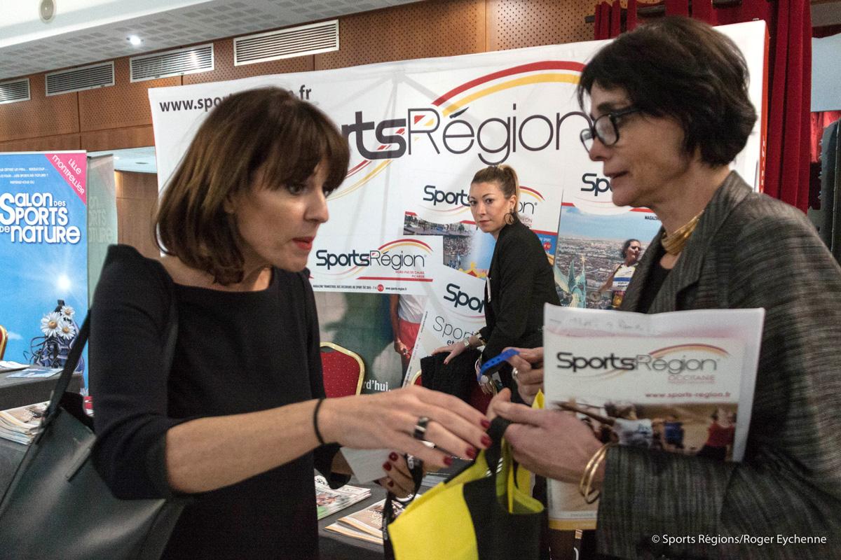 Mme Arribagé avec Nathalie Laforgue de Sports Région